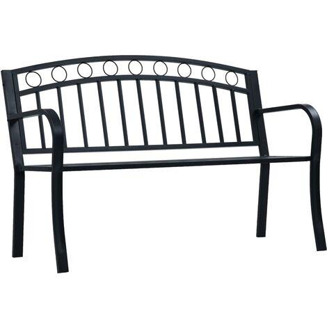 Banc de jardin 125 cm Noir Acier