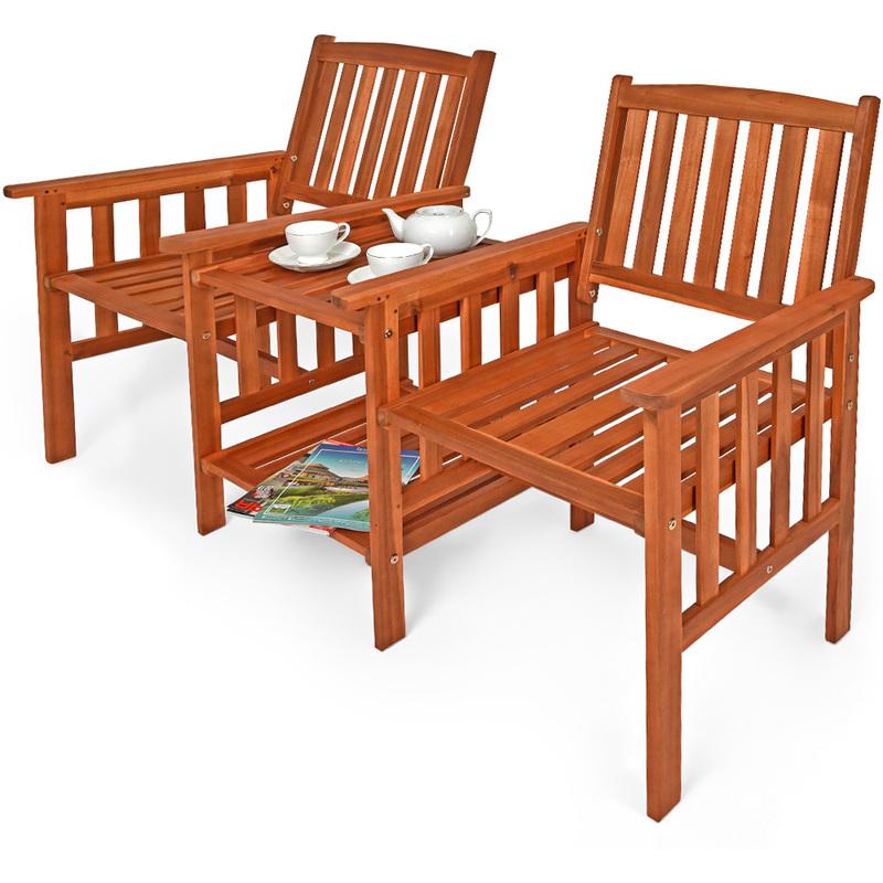 banc de jardin 2 places bois d 39 acacia avec table support et accoudoirs jardin 103759