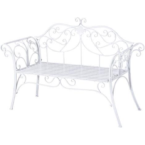 Banc de jardin 2 places style néo-rétro fer forgé motif fleur de lys lignes fuselées 131L x 51l x 90H cm métal époxy blanc