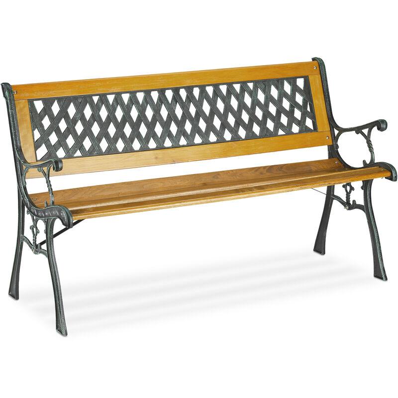 Banc de jardin, 2 sièges, bois, fonte, balcon et terrasse, rustique, HxLxP 73 x 125 x 52 cm, nature/vert