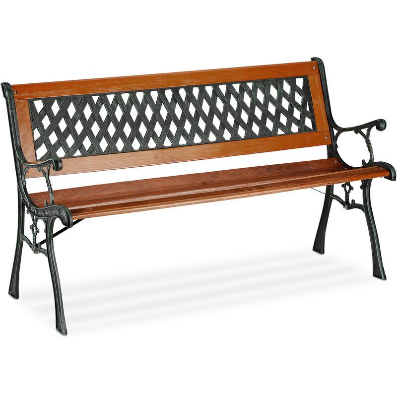 Banc de jardin, 2 sièges, bois, fonte, balcon et terrasse, rustique, HxLxP 73 x 125 x 52,5 cm, brun/vert