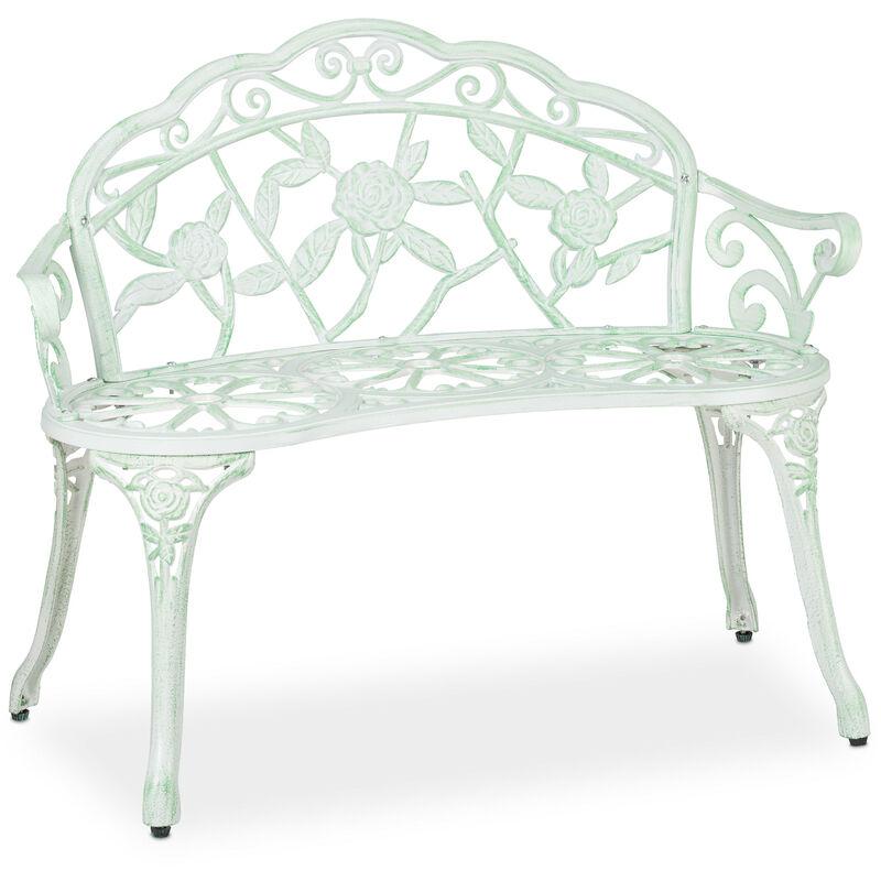 Banc de jardin, 2 sièges, roses, terrasse, balcon, aluminium et fonte, antique, 78 x 98 x 55,5 cm, blanc/vert