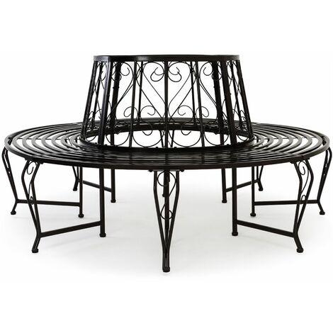 Banc de jardin 360° noir Ø160cm - acier laqué jardin autour arbre - robuste - pieds incurvés