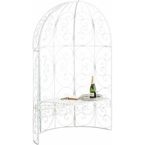 Banc de jardin avec arche à rosiers en métal blanc style vintage - blante