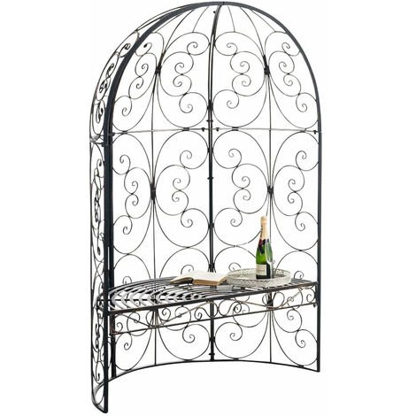 Banc de jardin avec arche à rosiers en métal bronze vieilli style vintage - noir