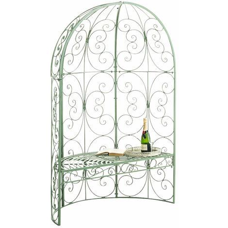 Banc de jardin avec arche à rosiers en métal vert vieilli style vintage - vert