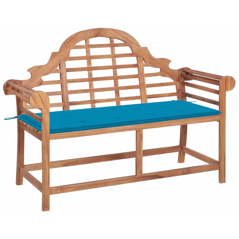 Banc de jardin avec coussin bleu 120 cm Bois de teck massif