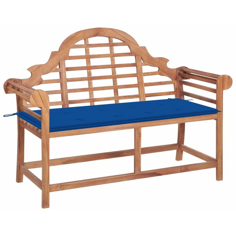 Banc de jardin avec coussin bleu royal 120 cm Bois de teck