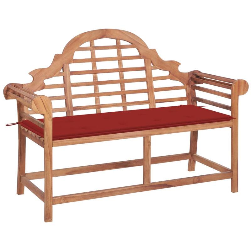 Banc de jardin avec coussin rouge 120 cm Bois de teck massif