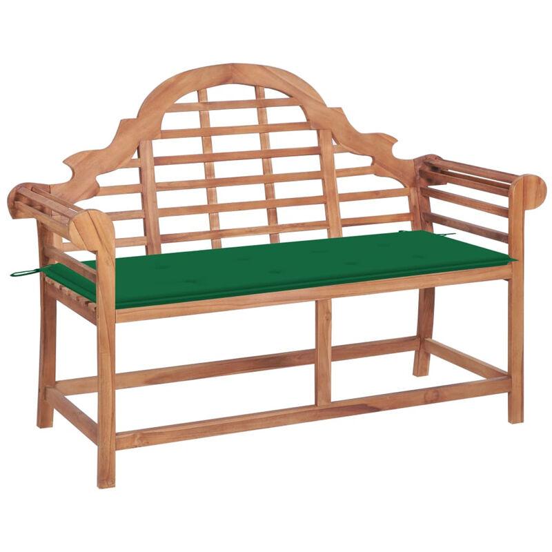 Banc de jardin avec coussin vert 120 cm Bois de teck massif