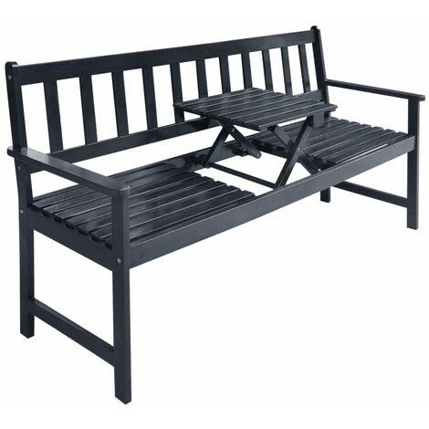 Banc de jardin avec table escamotable Bois d\'acacia Gris - 42650