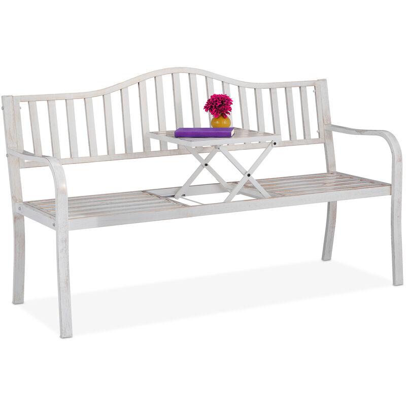Relaxdays - Banc de jardin avec table pliante, 3 places, solide, jardin, métal, balcon, HLP: 89x150x58,5 cm, blanc-bronze
