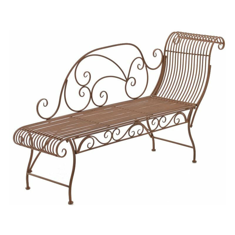 Banc de jardin banquette design en fer forgé marron vieilli dossier côté droit 156x46 cm - marron