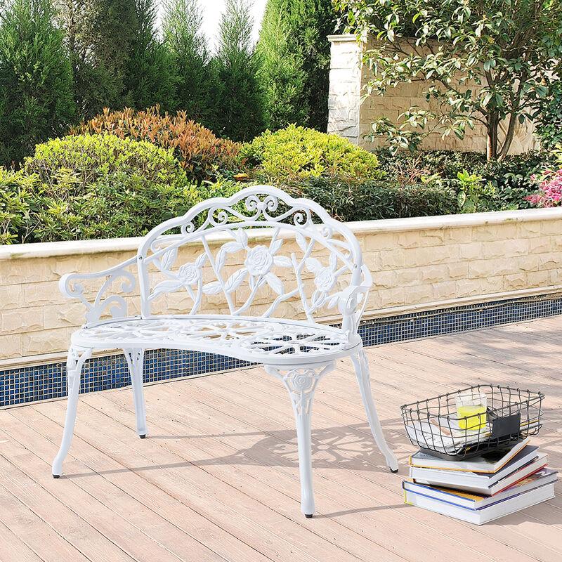 Banc de Jardin Chaise de Jardin Fonte Résistant aux Intempéries Blanc  100x54x80cm