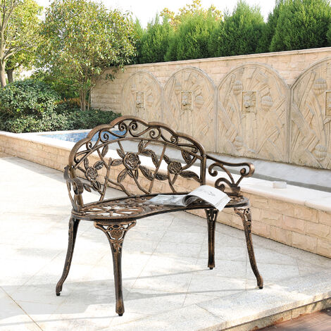 Banc de Jardin Chaise de Jardin Fonte Résistant aux Intempéries Bronze 100x54x80cm