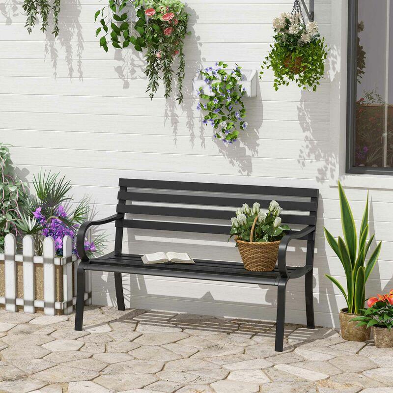 Banc de jardin design contemporain 2 places dim. 124L x 62l x 81H cm métal  époxy noir