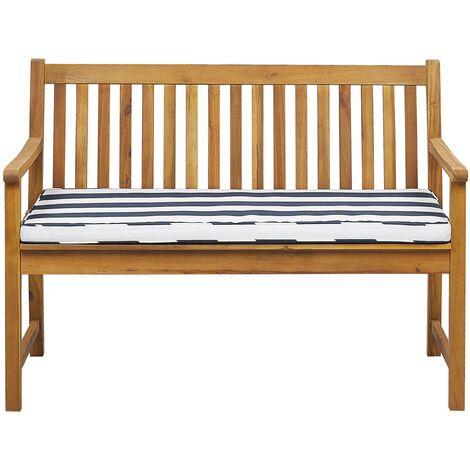 Banc de jardin en bois acacia 120 cm avec coussin à rayures bleu marine VIVARA
