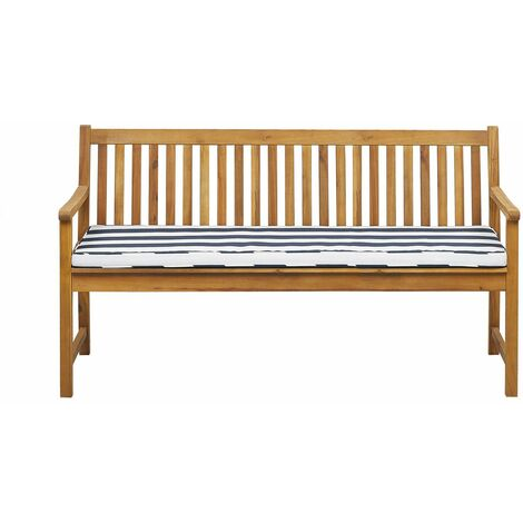 Banc de jardin en bois acacia 160 cm avec coussin à rayures bleu marine VIVARA