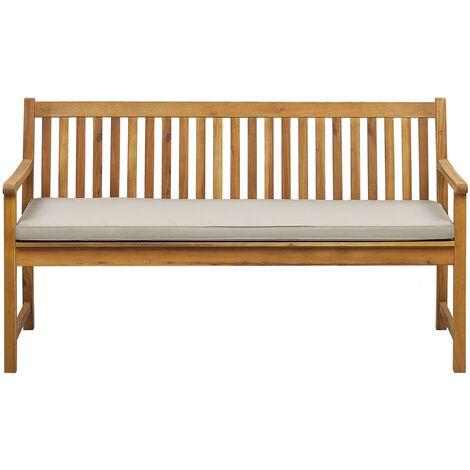 Banc de jardin en bois acacia 160 cm avec coussin beige VIVARA