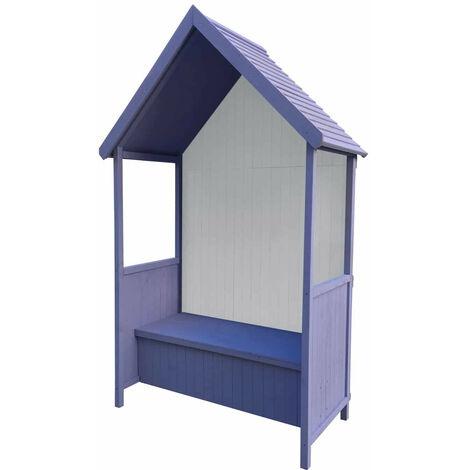 Banc de Jardin en Bois Coffre de Rangement Abribus Gardiun Alice Purple 75x137x223 cm