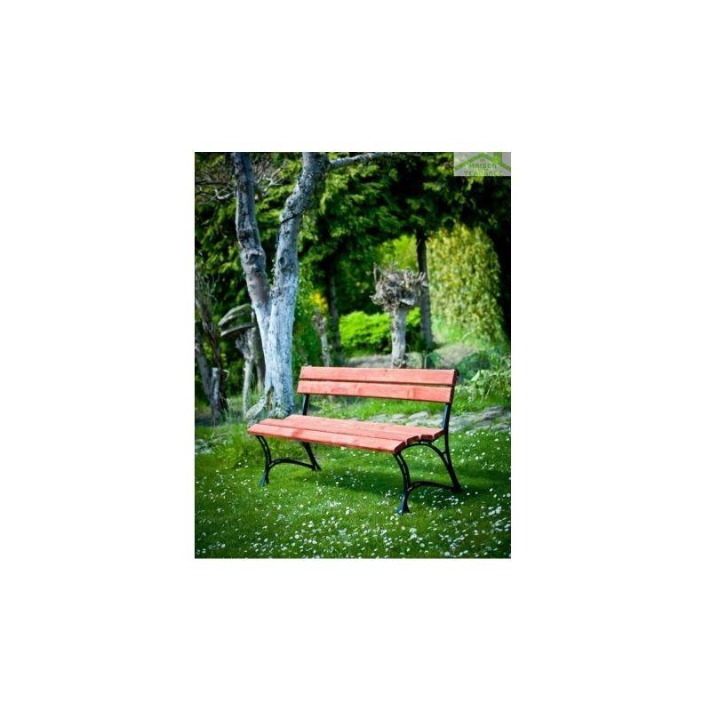 Banc de jardin en bois couleur acajou et aluminium 150cm ou 180cm