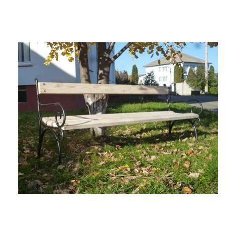 Banc de jardin en frêne 200 cm à accoudoirs