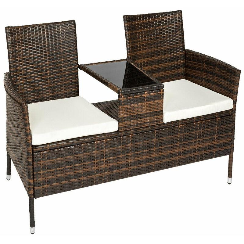 Banc de jardin en résine tressé poly rotin + table + coussins marron - Marron