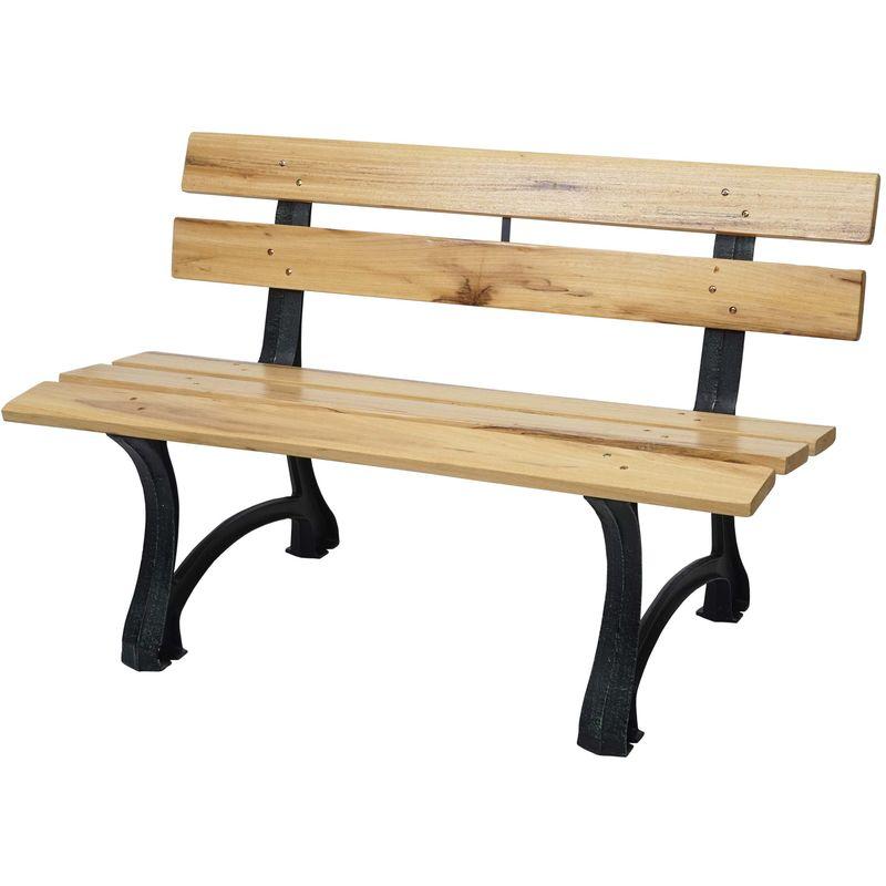 Banc de jardin HHG-692, banc du parc, banquette en bois, fonte ~ 2 places, 125cm marron clair