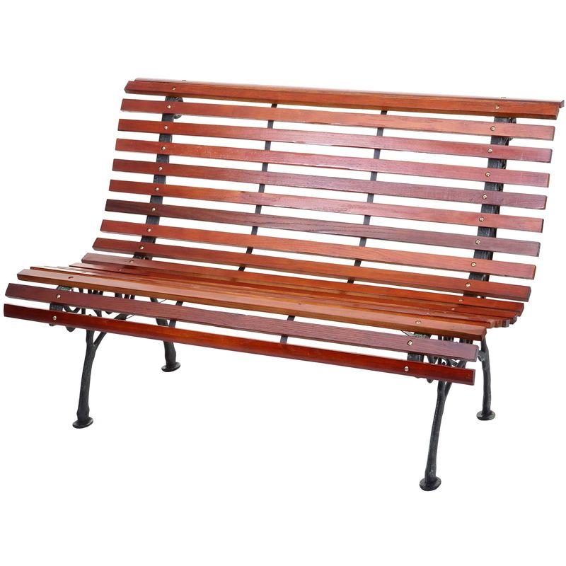 Banc de jardin HHG-695, banc du parc, banquette en bois ~ 2 places, 122cm, 24kg, marron