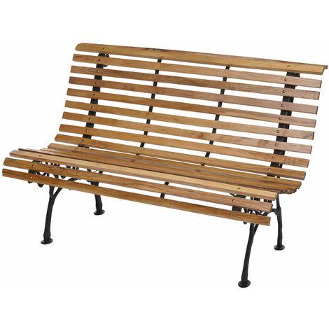 Banc de jardin HHG-695, banc du parc, banquette en bois, fonte, 3 places, 122cm, 22kg ~ marron clair
