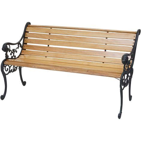 Banc de jardin HHG-707, banc du parc, banquette en bois ~ 2 places, 125cm marron