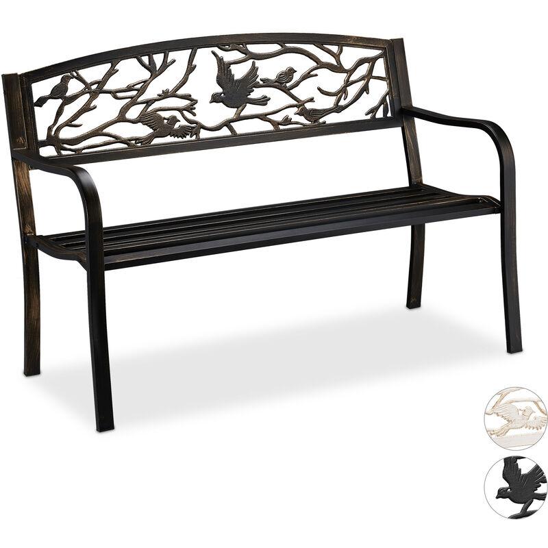 Relaxdays - Banc de jardin, motif oiseau, 2 sièges, vintage, jardin et balcon, acier, HLP : 87 x 127 x 57cm, noir/bronze