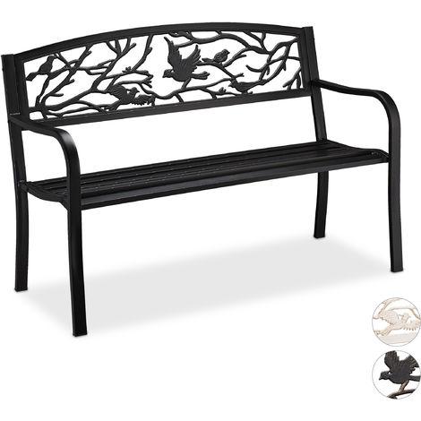 Banc de jardin, motif oiseau, 2 sièges, résistant aux intempéries; anti rouille; banc siège, HlP 87x127x57cm