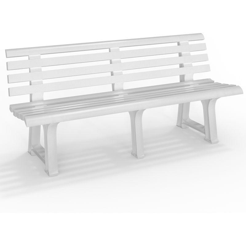 Banc de jardin parc Terrasse ORCHIDEE blanc PVC - 145x49x74 cm Jardin