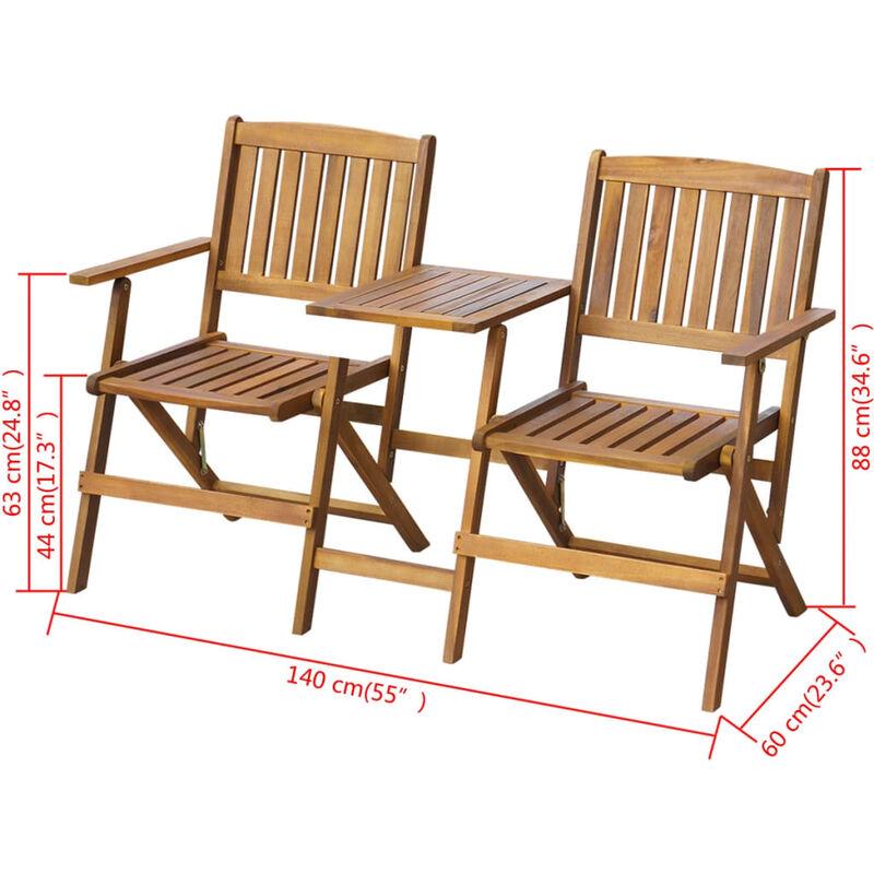 Banc de jardin pliant et table à thé 140cm Bois d\'acacia solide - 42654