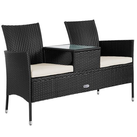 banc de jardin polyrotin 2 places avec table int gr e et. Black Bedroom Furniture Sets. Home Design Ideas