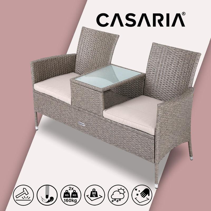 Banc de jardin polyrotin 2 places table plateau coussins au choix salon de jardin meubles extérieurs Crème