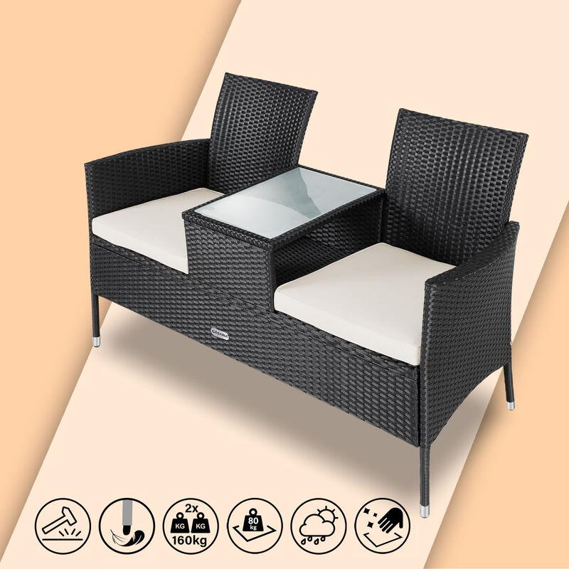 Banc de jardin polyrotin 2 places table plateau coussins au choix salon de jardin meubles extérieurs Noir