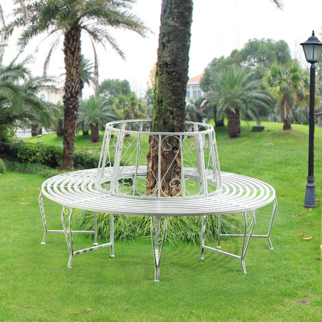 Banc de Jardin Rond pour Arbre Meuble Extérieur Robuste Circulaire de 360° 160 x 84 cm Acier Blanc