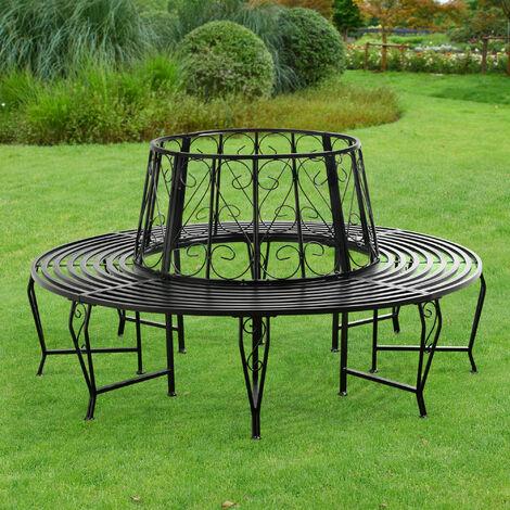 Banc de Jardin Rond pour Arbre Meuble Extérieur Robuste Circulaire de 360° 160 x 84 cm Acier Noir