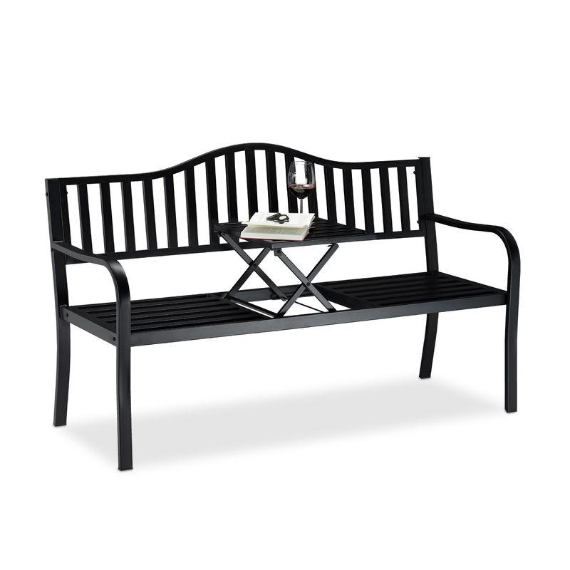 Relaxdays - Banc de jardin avec table pliante, 3 places, extérieur, balcon et terrasse, robuste, 90 x 150 x 57,5 cm, noir