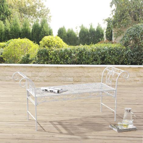 Banc de Jardin Vintage Meuble Design Solide pour Usage Extérieur Métal 70 x 147 x 46 cm Blanc