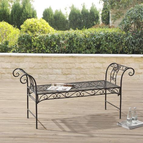 Banc de Jardin Vintage Meuble Design Solide pour Usage Extérieur Métal 70 x 147 x 46 cm Vert Foncé Patine Grise Claire
