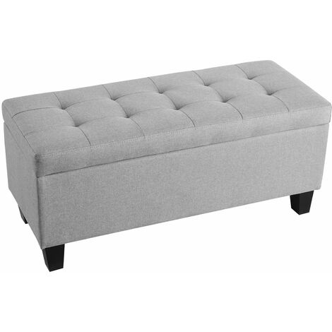 Banc de lit MATHIEU coffre de rangement avec assise rembourrée pouf capitonné, bout de lit en MDF et bois, revêtement tissu gris