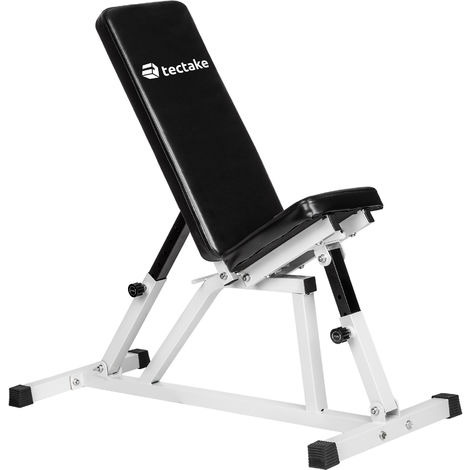 Banc de Musculation pour Abdominaux Réglable 120 cm x 47 cm x 114 cm Blanc Noir