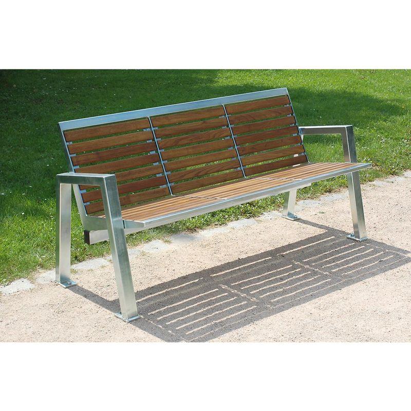 Banc de parc à trois personnes - inox et assise en bois - longueur 1595 mm - Coloris assise et dossier: nature