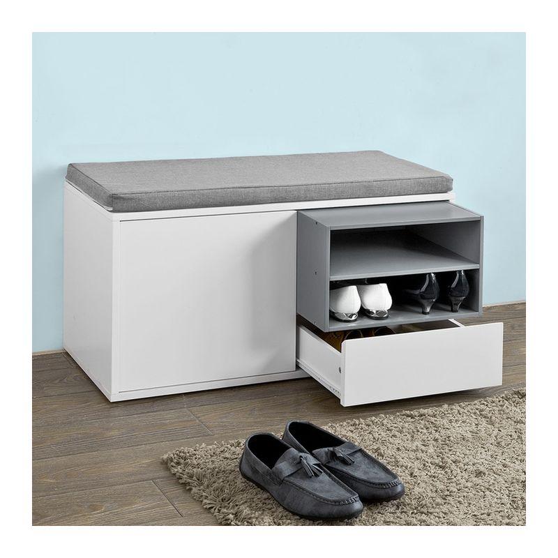 banc de rangement chaussures avec coussin rembourr. Black Bedroom Furniture Sets. Home Design Ideas