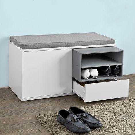 Banc de Rangement à Chaussures avec Coussin rembourré, tiroir et ÉtagèresSoBuy FSR37-W SoBuy®