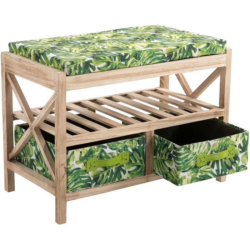 Banc de rangement ADELFIA meuble en bois déco jungle urbaine avec coussin et 2 tiroirs motifs feuilles tropicales et 1 étagère