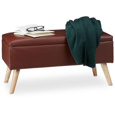Banc de rangement banquette similicuir coffre 40 litres 4 pieds ottoman pouf tabouret HxlxP: 40 x 80 x 39,5 cm, couleurs